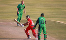 Ed Rainsford seals the win with a last-ball six, Zimbabwe v Ireland, 1st ODI, Harare, September 26, 2010