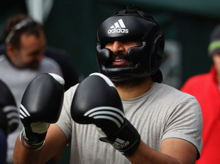 Monty Panesar gets kitted out for a boxing session during England's secret bonding camp in Bavaria, Germany, September 26, 2010