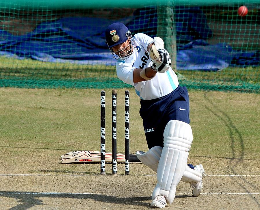 Sachin Tendulkar plays a lofted shot during nets