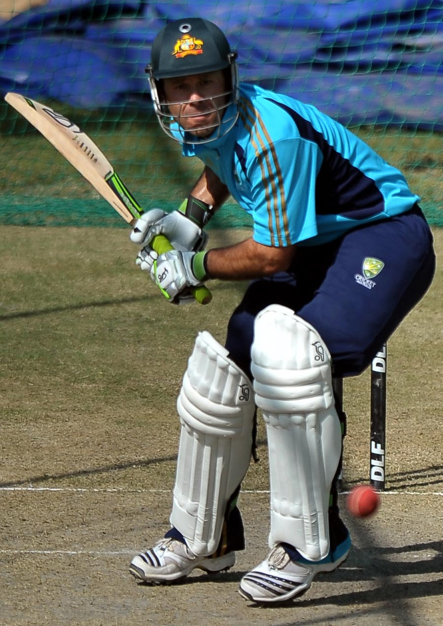 Ricky Ponting at a training session ahead of the first Test