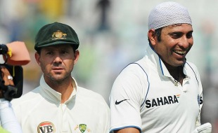 Contrasting expressions on the faces of Ricky Ponting and VVS Laxman, 1st Test, Mohali, India v Australia, 5th day, October 5, 2010
