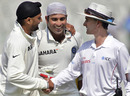 Billy Bowden congratulates Harbhajan Singh and VVS Laxman after the match, 1st Test, Mohali, India v Australia, 5th day, October 5, 2010