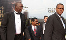 Joel Garner and Courtney Walsh arrive for  the 2010 ICC Awards in Bangalore, October 6, 2010
