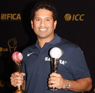 Sachin Tendulkar with his ICC awards - Cricketer of the Year and the People's Choice