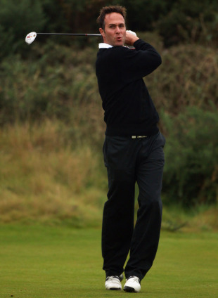 Michael Vaughan swings away at the Alfred Dunhill Links Championship, St Andrews, October 8, 2010