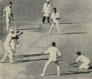 Eknath Solkar takes an excellent low catch to dismiss John Gleeson, India v Australia, 3rd Test, Delhi, November 29, 1969