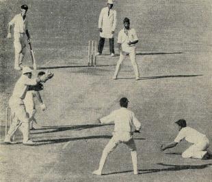 Eknath Solkar takes an excellent low catch to dismiss John Gleeson, India v Australia, 3rd Test, Delhi, November 29, 1969