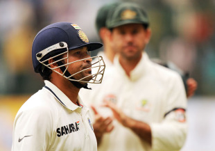 Ricky Ponting applauds in the background as Sachin Tendulkar walks back unbeaten, India v Australia, 2nd Test, Bangalore, 3rd day, October 11, 2010
