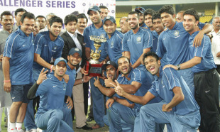 India Blue with the NKP Salve Challenger Trophy, India Blue v India Green, final, NKP Salve Challenger Trophy, Indore, October 11, 2010