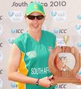 South African captain Cri-zelda Brits with the trophy, ICC Women's Cricket Challenge, Potchefstroom, October 12, 2010