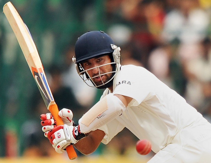 Cheteshwar Pujara plays the ball towards square leg