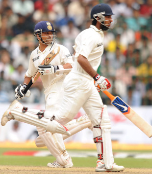 Sachin Tendulkar and Cheteshwar Pujara were involved in a crucial stand, India v Australia, 2nd Test, Bangalore, 5th day, October 13, 2010