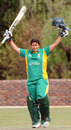 Shandre Fritz celebrates her magnificent hundred, South Africa v Netherlands, ICC Women's Cricket Twenty20 Challenge, October 14, 2010