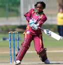 West Indies batsman Stacy-Ann King pulls with her Mongoose bat, Netherlands Women v West Indies Women, ICC Women's Cricket Twenty20 Challenge, Potchefstroom, October 16, 2010