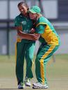 Shabnim Ismail and Sunette Loubser celebrate a wicket, South Africa Women v Pakistan Women, ICC Women's Cricket Twenty20 Challenge, Potchefstroom, October 16, 2010