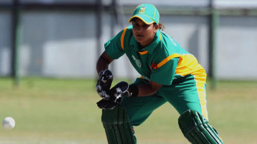 South African wicketkeeper Trisha Chetty collects the ball
