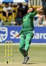 Rusty Theron bustles in during his five-wicket haul, South Africa v Zimbabwe, 2nd ODI, Potchefstroom, October 17, 2010