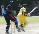 Xavier Marshall cuts on his way to 75, Combined Campuses and Colleges v Jamaica, Group A match, WICB Cup, Kensington Park, Kingston, October 18, 2010