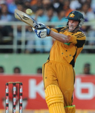 Michael Hussey plays the pull, India v Australia, 2nd ODI, Visakhapatnam, October 20, 2010