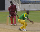 Darren Sammy dismisses Gavin Williams, one of his four victims, for a duck, Leeward Islands v Windward Islands, 1st semi-final, Jamaica, October 21, 2010