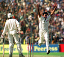 Srinath celebrates the fall of Shahid Afridi, India v Pakistan, Asia Test Championship, Eden Gardens, Calcutta, 16-20