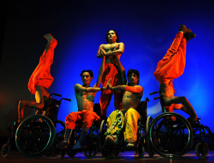 A performance of the Ramayana on wheelchairs by physically challenged artists, Bangalore, May 28, 2010