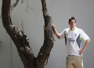 Alastair Cook and a tree at the England team hotel, Perth, October 31, 2010