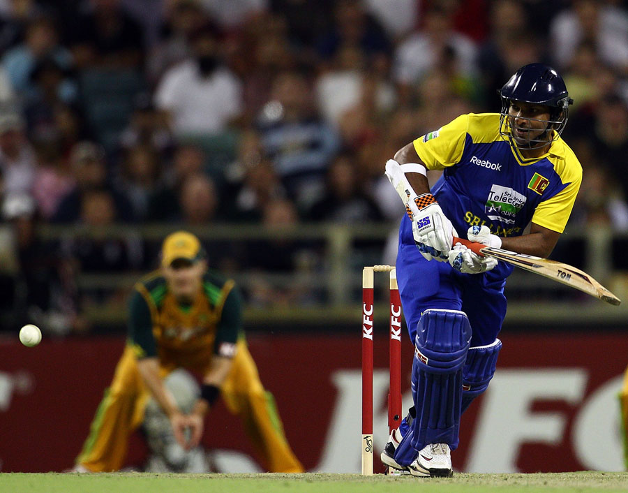 Kumar Sangakkara works one through midwicket