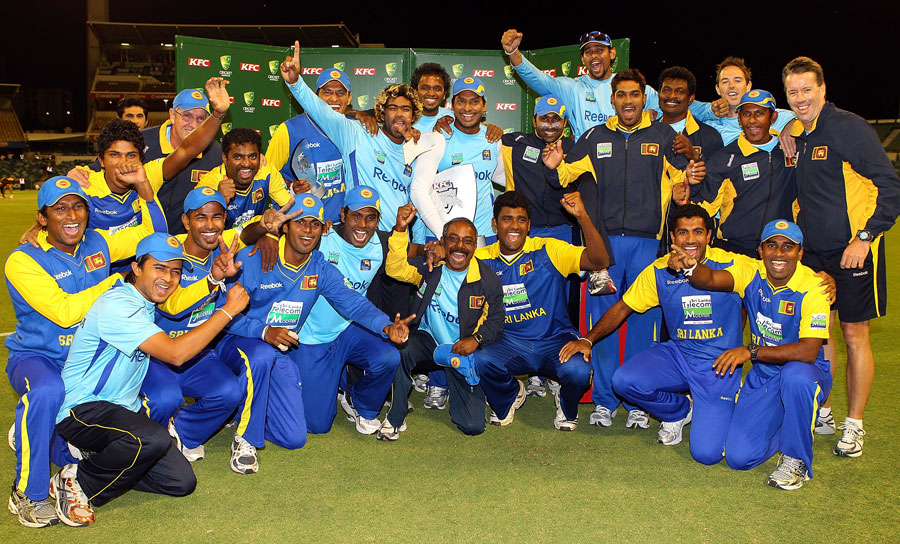 Sri Lanka pose with the KFC Trophy after beating Australia