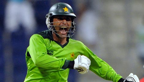 Abdul Razzaq celebrates an unbelievable victory