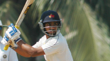 Mumbai's Iqbal Abdulla steers the ball through the off side