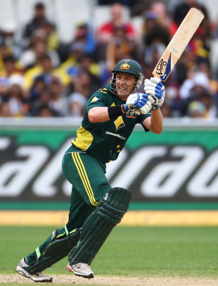 Michael Hussey works the ball during his unbeaten 71, Australia v Sri Lanka, 1st ODI, Melbourne