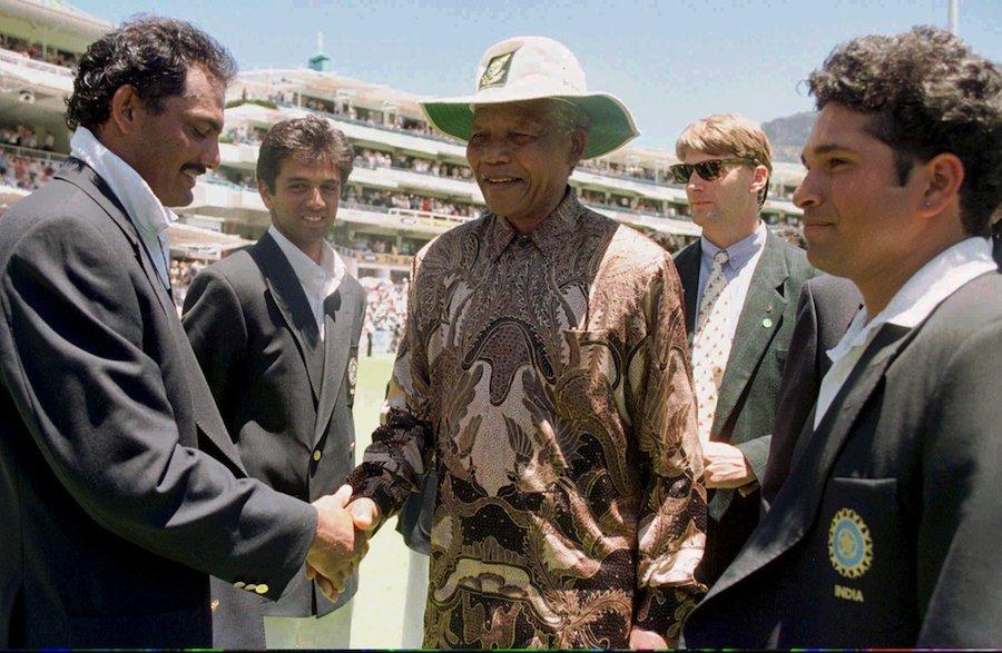 Mohammad Azharuddin and Sachin Tendulkar meet Nelson Mandela