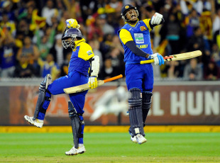 Angelo Mathews and Muttiah Muralitharan jump for joy after sealing the victory, Australia v Sri Lanka, 1st ODI, Melbourne, November 3, 2010
