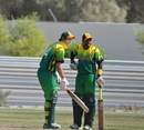 Captain Andrew Mansale shares a joke with Jonathon Dunn after hitting another six, Vanuatu v Bhutan, WCL Division Eight, Kuwait City, November 6, 2010