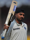 Harbhajan Singh after reaching his maiden Test century, India v New Zealand, 1st Test, Ahmedabad, 5th day, November 8, 2010
