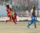 Ehsan Latif gathers to bowl against Bahamas, Bahamas v Germany, WCL Division 8, Ahmadi City, November 9 2010