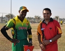 Andrew Mansale, Vanuatu's captain, and Germany captain Asif Khan after the toss, Germany v Vanuatu, WCL Division 8 Semi-Final, Kuwait City, November 11 2010