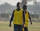 Simpson Obed and Nalin Nipiko warm up before Vanuatu's semi-final against Germany, Germany v Vanuatu, WCL Division 8 Semi-Final, Kuwait City, November 11 2010