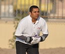 Srinivas Satyanarayana, Germany's wicketkeeper, warms up before his team's semi-final, Germany v Vanuatu, WCL Division 8 Semi-Final, Kuwait City, November 11 2010