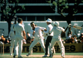 Dennis Lillee and Javed Miandad clash, Australia v Pakistan, Perth, November 17, 1981
