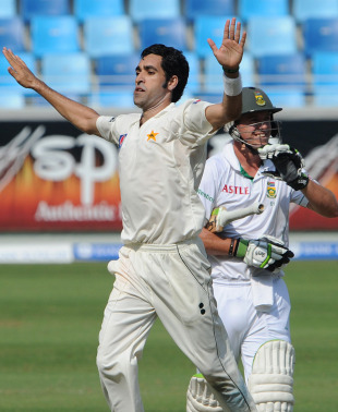 Umar Gul celebrates after removing AB de Villiers, Pakistan v South Africa, 1st Test, Dubai, 2nd day, November 13, 2010