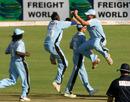 Chris Mpofu and Gavin Ewing celebrate as another wicket falls,  Mashonaland Eagles v Matabeleland Tuskers, Stanbic Bank 20, Harare, November 14, 2010