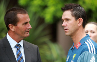 Andrew Hilditch and Ricky Ponting at the announcement of Australia's Ashes squad, Sydney, November 15, 2010