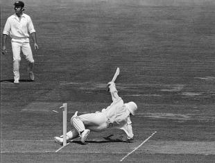 Roy Fredericks treads on his stumps after hooking Dennis Lillee for six in the 1975 World Cup