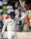Virender Sehwag celebrates his second half-century of the match, India v New Zealand, 2nd Test, Hyderabad, 5th day, November 16, 2010
