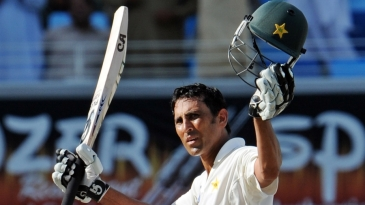 Younis Khan celebrates his fourth-innings century against South Africa