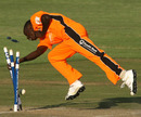Trevor Garwe completes a 31-run victory for the Eagles with a run-out, Mashonaland Eagles v Mountaineers, Stanbic Bank 20 Series, Harare, November 16, 2010