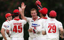 Rob Cassell celebrates on a breakthrough day, Queensland v South Australia, Sheffield Shield, 1st day, Allan Border Field, November 18, 2010
