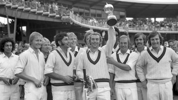 Lancashire captain David Lloyd holds the Gillette Cup after their win over Middlesex